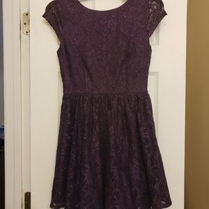Speechless Dark Purple Lace Dress